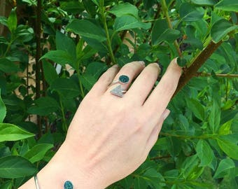 Druzy ring, sterling silver, gemstone ring, druzy jewelry, adjustable ring, green ring, boho ring, gift for her, natural stone ring, wrap