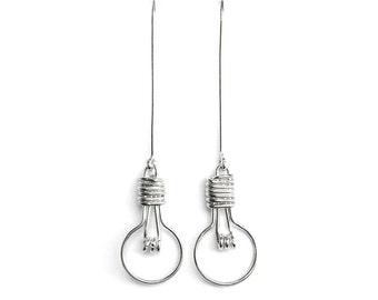 Unusual Jewelry, Novelty Earrings, Science Jewelry, Teacher Gift Idea, Geek Jewelry, Miniature Light Bulb Earrings Lightbulb Earrings