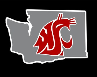 WSU Cougars Car Window Sticker (Grey)
