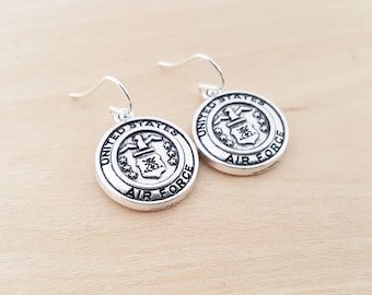 Air Force Earrings - Military Charm Earrings -  Sterling Silver Earrings - Silver Jewelry - Gift for Her