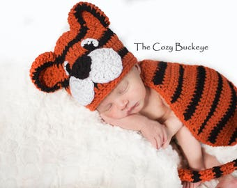 Instant Download Crochet Pattern - Newborn Tiger Hat and Cape Set - Newborn Prop - Animal Character