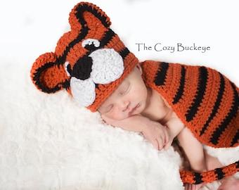 Instant Download Crochet Pattern - Newborn Tiger Hat and Cape Set - Newborn Prop - Animal Character