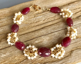 Ruby Bracelet / Ruby and Pearl Bracelet / Statement Bracelet / Ruby Pearl and Gold Bracelet