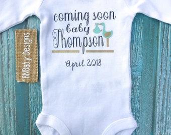 Baby announcement onesie,  custom baby onesie, baby on the way, coming soon onesie, unisex baby onesie,