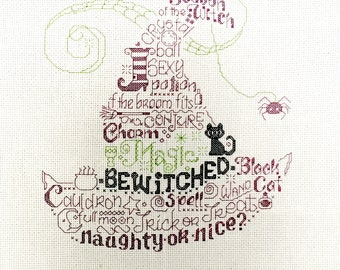 Halloween Witches Hat with Halloween text black cat Finished Counted Cross Stitch Piece