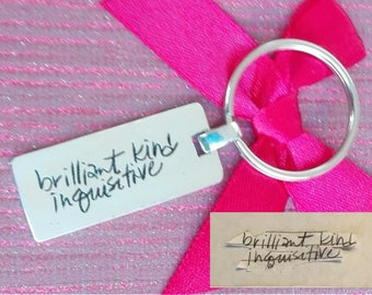 Handwriting Keychain. Your actual loved ones signature or handwriting. Sterling Silver