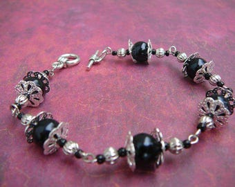 Black and silver linked stone bracelet