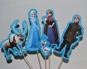 FROZEN Centerpiece Picks Set of 5 (DOUBLE-sided)/Cake Toppers / Birthday Party / Decorations / Supplies / Decor