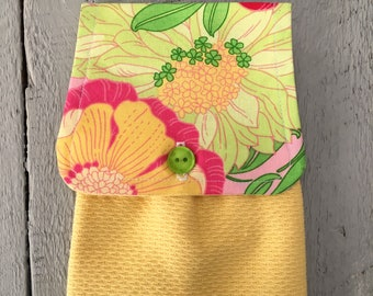 Hanging Kitchen Towel - Floral Flowers Hawaiian Pink Yellow Green Terry Cloth Towel Button Closure