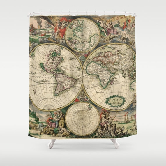 Old World Map Shower Curtain, Vintage World Map Shower Curtain, Bathroom, World Map Home Decor, Nautical Shower Curtain, Vintage Map Decor