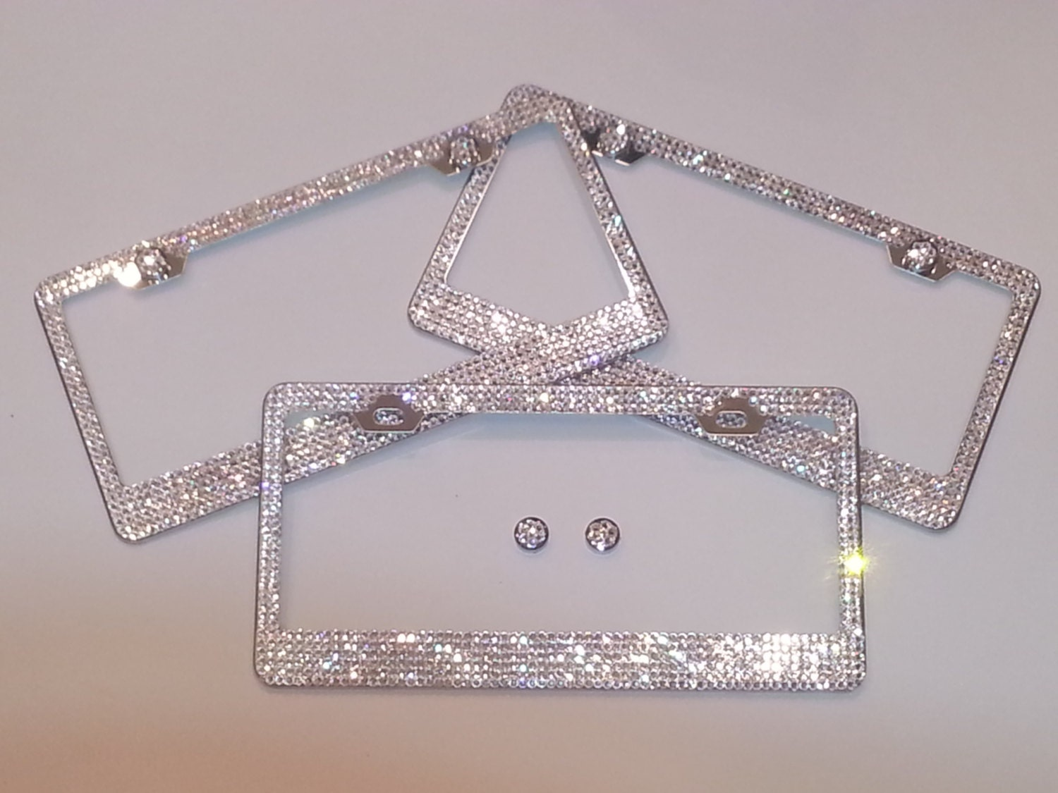 Beautiful Swarovski Crystal Chrome Metal Steel License Plate