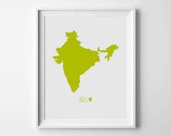 India Map Print, Lime, Wall Art Print, World Map Print, Travel Poster, Room Decor, Printable Art, Digital Art Print, Scandinavian Art Print