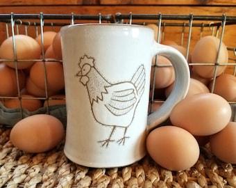 Handmade Pottery Mug, Stoneware Mug, Coffee Mug, Tea Mug, Pottery Mug, Chicken Mug