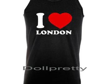 I Love London  Heart  Vest Tank Top NEW Men,High Quality,Gift