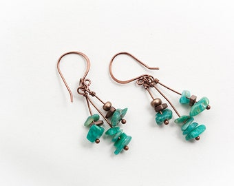 Green Amazonite, Amazonite Earrings, Green Earrings, Copper Green, Amazonite Jewelry, Natural Stone Earrings, Natural Amazonite, Cascade