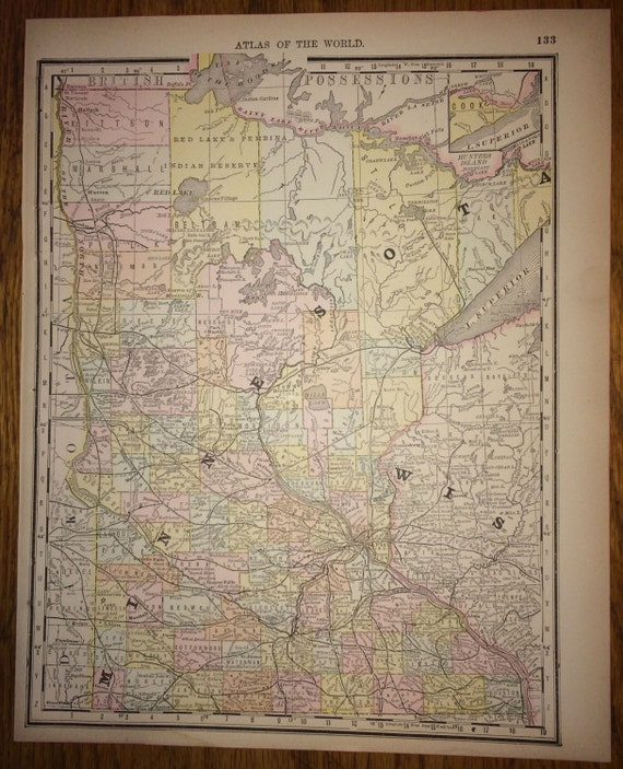 Minnesota or illinois large map 1888 rand mcnally standard gumiabroncs Image collections