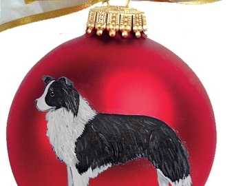 Border Collie Dog Hand Painted Christmas Ornament - Can Be Personalized with Name