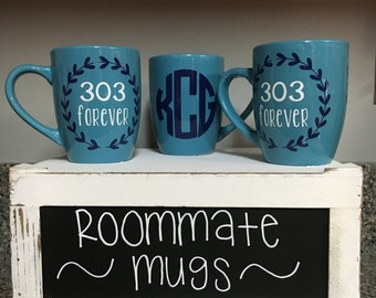Personalized roommate monogram apartment dorm mugs christmas graduation gift