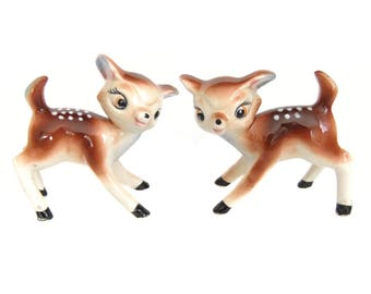 Vintage Deer Figurines, Fawn Figurines, Christmas Deer, Pink Blue Accents, Deer Statues,  Shelf Mantle Decor, Woodland Bambi Nursery Decor