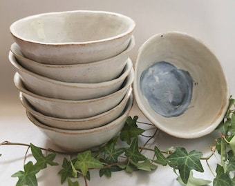 hand made ceramic white and blue earthy bowls