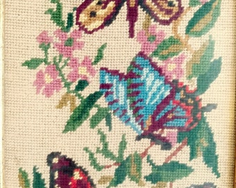 Vintage 1970s Beautiful Custom Framed Trio of Butterflies Needlepoint Picture, FREE SHIPPING US