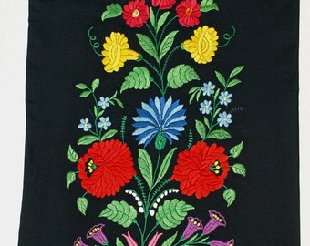 New Hand Embroidered Black Hungarian Kalocsa Floral Pillow Case