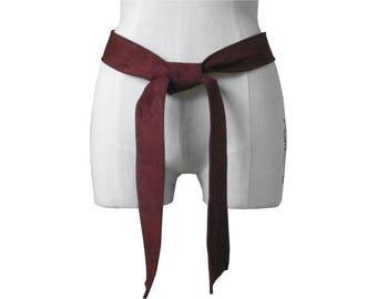 Womens leather belt, Classic Suede belt, Burgundy Suede Leather Tie Belt, Soft Lambskin Leather, Basic belt, Leather coat belt - S - M - L