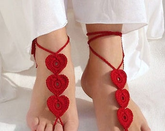 Red Heart Barefoot Sandals, Burgundy Barefoot Sandles, Nude shoes, Foot jewelry. Barefoot walk decoration