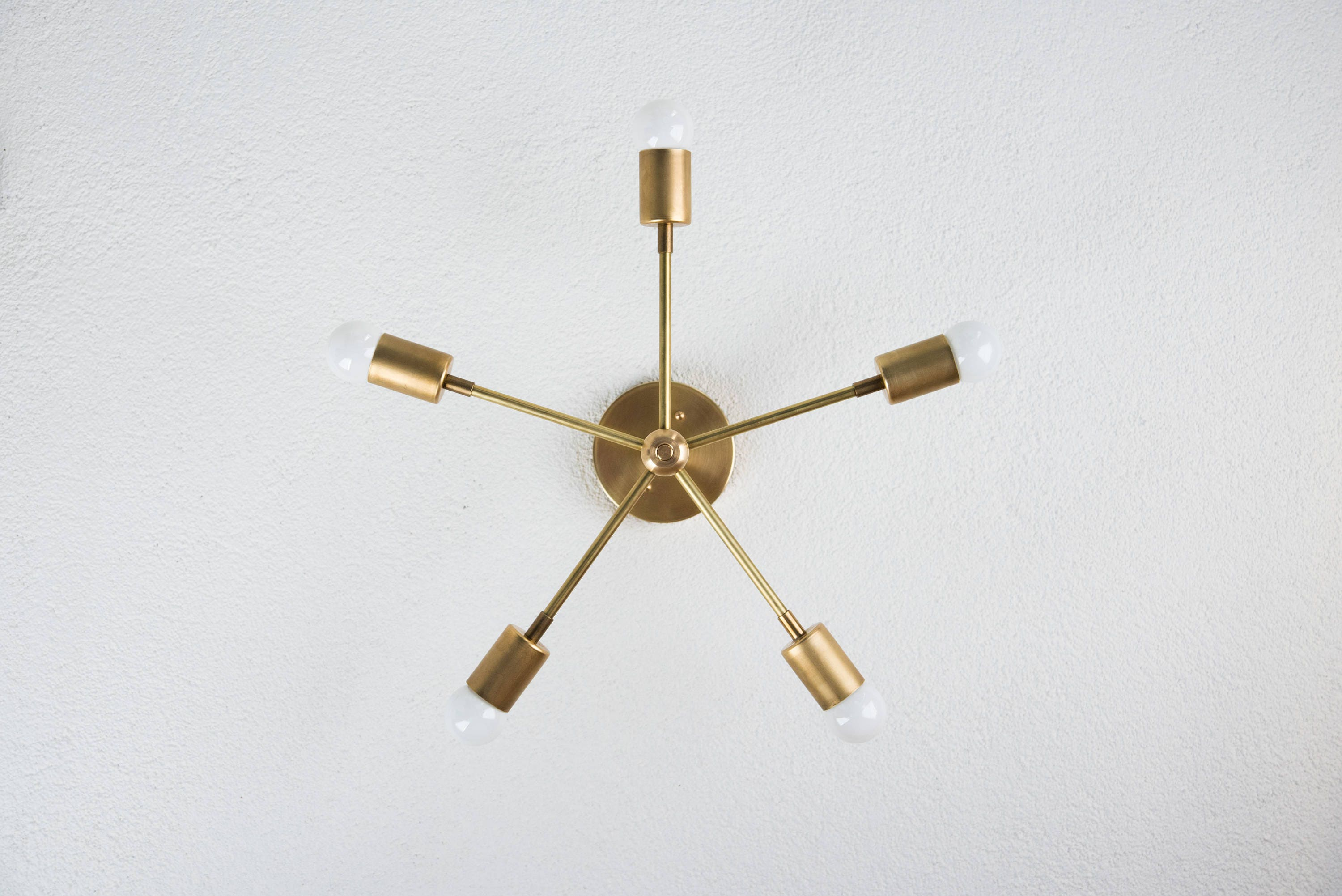 In stock modern chandelier gold five 5 arm pinwheel bulb brass modern chandelier gold five 5 arm pinwheel bulb brass sputnik mid century semi flush industrial light ul listed arubaitofo Image collections