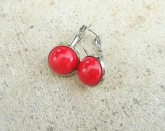 Bright red earrings, Drop red earrings, Glass cabochon earrings, Red jewelry, Silver red earrings,red dangle earrings,red