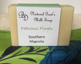 All natural goats milk soap, southern magnolia fragrance, bar soap, hand soap, handmade soap
