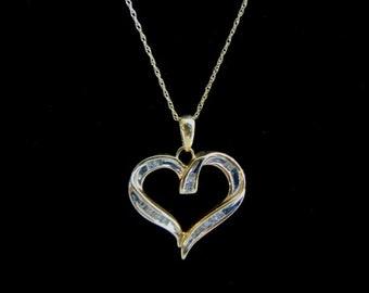 Vintage Estate 10K Gold Chain Necklace w/ Diamond Heart Pendant 2.4g E1473