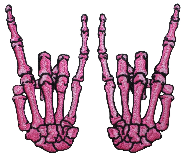 Pink devil horns sign patch rock metal bone hands kreepsville zoom buycottarizona