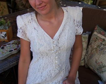 Lace Dress, Ivory Lace dress, 80s Lace dress, Lace maxi dress, short sleeve dress, size S