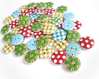 50 Boutons motifs et couleurs variés - lot de boutons en bois 15mm