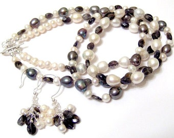 Smoky Blue Iolite and White Freshwater Pearl Two Strand Statement Necklace with Matching sterling silver Cluster Earrings