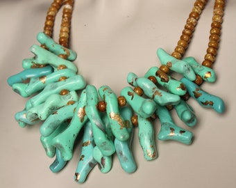 Mint Green Coral Necklace / Lucite Green Coral Branch Jewelry / Bold Mint Necklace / Handmade One of a Kind