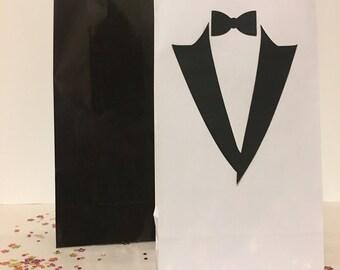 Tuxedo theme loot bags, Tuxedo Birthday theme, Tuxedo party Favor bags, Bachelor Party Bags, Groomsmen, Birthday For Him, Classy birthday