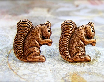 Nuts for Nuts - antique copper post earrings