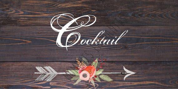"""Panneau mariage Baptême Bohème nature campagne """" Cocktail """"  flèche fleur watercolor aquarelle"""