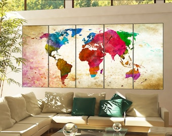 canvas art world map  print on canvas canvas art world map decor Print artwork large  canvas art world map home office 5 panel