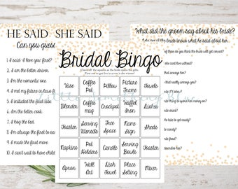 Bridal Shower Game Pack // Bridal Shower Bingo // He Said She Said // How well does the groom know the bride //Instant Download // Printable
