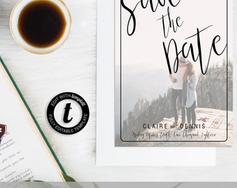 Save the Date Full Photo Minimalist  | Invitation Template, Save the Date Invite, Printable Invite, Instant Download, Easy to Edit