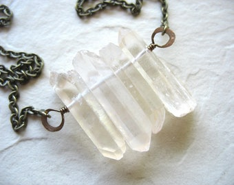 Crystal Necklace, Quartz Crystal Statement Necklace, Quartz Crystal Point Handmade Pendant Chain Necklace, Artisan Quartz Stone Jewelry