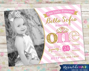 1st Birthday Party Invite, Pink and Gold Princess Invitation, Princess 1st Birthday, Pink and Gold, Pink and Gold Glitter Birthday, DIY