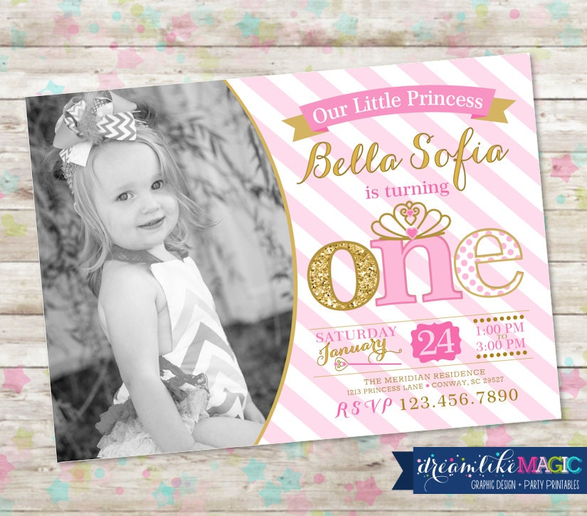 1st Birthday Party Invite Pink and Gold Princess Invitation