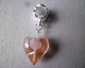 x 1 pendant/charm heart salmon glass eyeball charm 30 x 10 mm