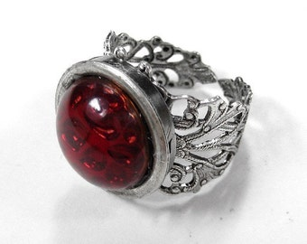 Steampunk Jewelry Ring Gothic Ring, RUBY Czech Glass CABOCHON Silver Filigree Band, Handmade Holiday Gift  For Her - Jewelry by edmdesigns