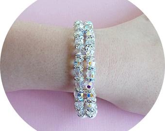 Double Strand Crystal Bracelet, Bridal Bracelet, 2 Strand,  Bracelet, Austrian Crystal, Wedding Jewelry, Sparkly, Bridal Jewelry, Bridal