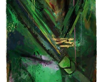 "NEW Classic Green Arrow Abstract Art Print, 13x19"""